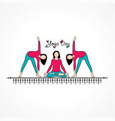 Woman international yoga day vector
