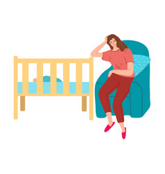 Woman mother napping in armchair near her babys vector