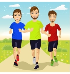 Young runner men running outdoors vector