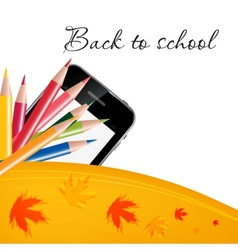 Abstract background with color pencils and leaves vector image