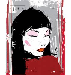 china girl ink illustration vector image vector image