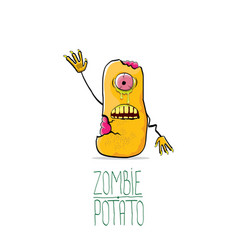 funny cartoon cute orange zombie potato vector image