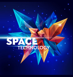 image of a faceted crystal space technology vector image