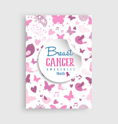 pink nature icon breast cancer awareness poster vector image vector image