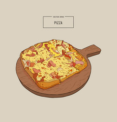 pizza on the wooden board hand draw sketch vector image vector image