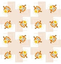 Seamless orange owl pattern for kids vector image