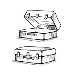 suitcase is open and closed vector image