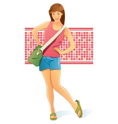 traveling girl with bag vector image vector image