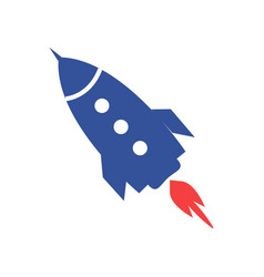 blue rocket icon isolated on white vector image