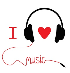 Headphones with red cord and heart I love music vector image vector image