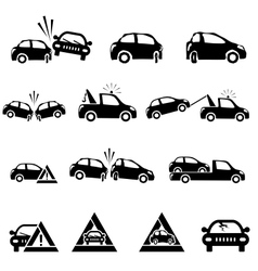 Icons set of car accident vector image vector image