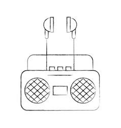 radio music player with earphones vector image
