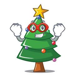 Super hero christmas tree character cartoon vector