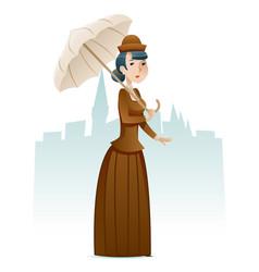 victorian lady businesswoman wealthy cartoon vector image