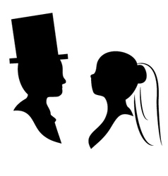 wedding silhouette vector image vector image