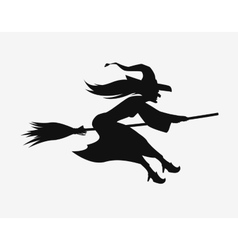 Witch on a broomstick Black silhouette Halloween vector image
