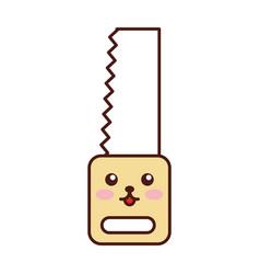 Woodworking saw kawaii character vector