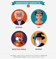 Bookstore subjects flat icons and characters vector image vector image
