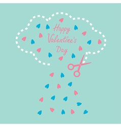 Cloud with hearts and scissors Valentines Day vector image vector image