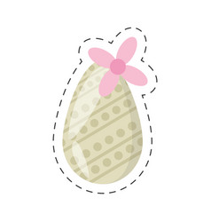 easter egg decoration and flower - cut line vector image vector image