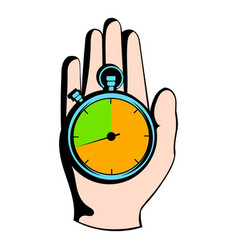 hand holding a stopwatch icon icon cartoon vector image