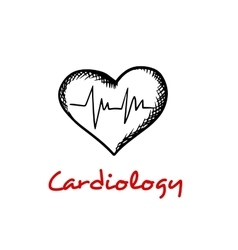 Heart sketch icon with ECG graph vector image