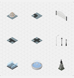 isometric architecture set of plants intersection vector image