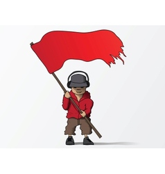 Man with red flag cartoon vector image vector image