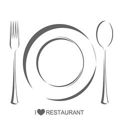 Restaurant 1 plate fork spoon vector