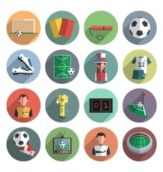 Soccer icons set flat vector image vector image