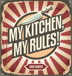 Vintage kitchen sign with promotional message vector