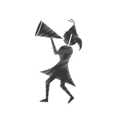 woman with party megaphone icon vector image