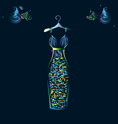 beautiful shining evening dress silhouette vector image vector image