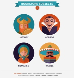 Bookstore subjects flat icons and characters vector image