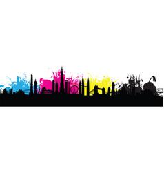 cmyk building cityscape background splash vector image vector image