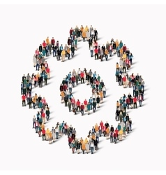 group people shape cog gear vector image