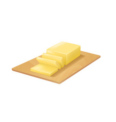realistic detailed 3d butter on cutting board vector image vector image