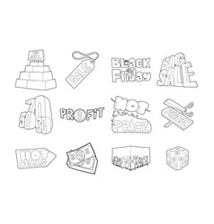 sale icon set outline style vector image vector image