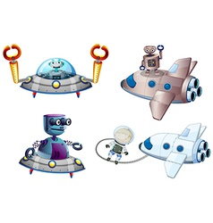 Spaceships with robot and a young boy near the vector image
