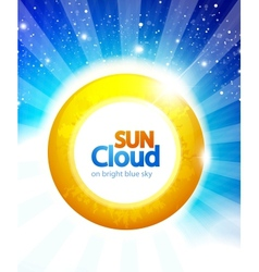 sun on blue sky background vector image vector image