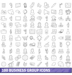 100 business group icons set outline style vector image