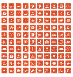 100 philanthropy icons set grunge orange vector image