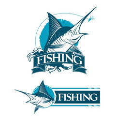 2 logo set emblem fishing marlin vector