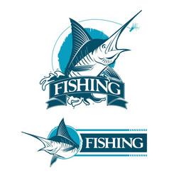 2 logo set emblem fishing marlin vector image