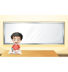 A boy writing on a paper with a blank board vector