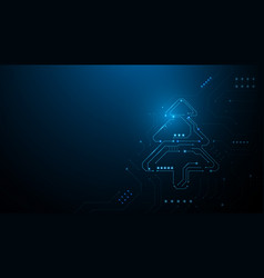 abstract christmas tree in circuit technology vector image