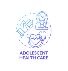 Adolescent health care blue gradient concept icon vector