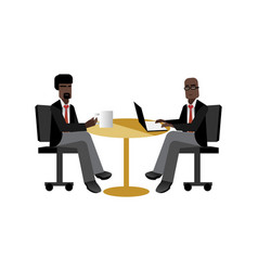 african businessmen coffee meeting in office vector image