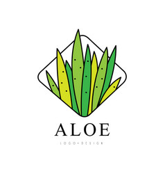 aloe vera logo design green natural product badge vector image