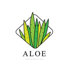 Aloe vera logo design green natural product badge vector